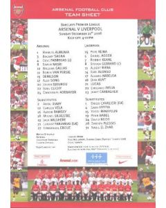 Arsenal v Liverpool official colour printed teamsheet 21/12/2008