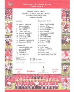 Arsenal v Manchester United official colour teamsheet 03/11/2007 Premier League