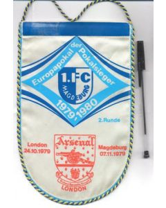 1979-1980 Cup Winners Cup pennant Arsenal v Magdeburg