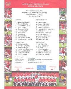 Arsenal v Manchester City official colour printed teamsheet 04/04/2009
