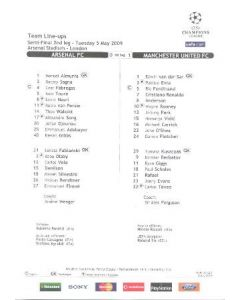 Arsenal v Manchester United official teamsheet 05/05/2009