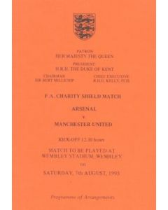 1993 Charity Shield Arsenal v Manchester United Programme of Arrangements for the Royal Box