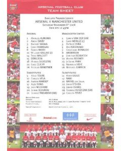 Arsenal v Manchester United colour printed teamsheet 08/11/2008 Premier League