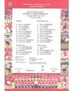Arsenal v Middlesbrough official colour teamsheet 15/03/2008 Premier League