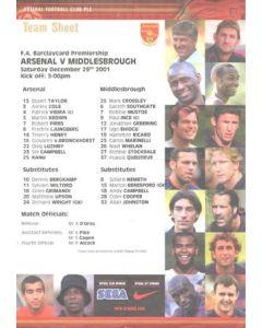 Arsenal v Middlesbrough official colour teamsheet 29/12/2001 Premier League