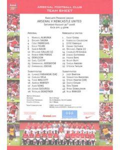 Arsenal v Newcastle United official colour teamsheet 30/08/2008 Premier League