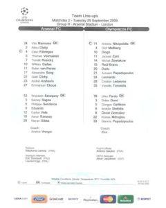 Arsenal v Olympiacos teamsheet 29/09/2009 Champions League