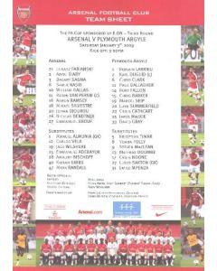 Arsenal v Plymouth Argyle official colour printed teamsheet 03/01/2009