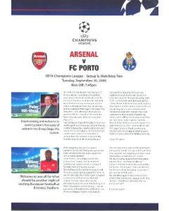 Arsenal v Porto Arsenal produced press pack 30/09/2008