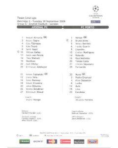 Arsenal v Porto colour printed teamsheet 30/09/2008 Champions League