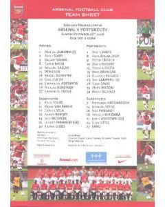 Arsenal v Portsmouth official colour printed teamsheet 28/12/2008