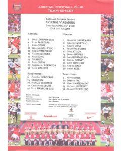 Arsenal v Reading official colour teamsheet 19/04/2008 Premier League