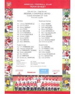 Arsenal v Sheffield United colour printed teamsheet 23/09/2008