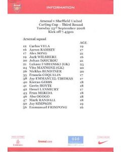 Arsenal v Sheffield United Arsenal produced colour printed press pack with biographies of players 23/09/2008
