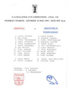 Arsenal v Sheffield Wednesday official teamsheet 15/05/1993 FA Cup Final