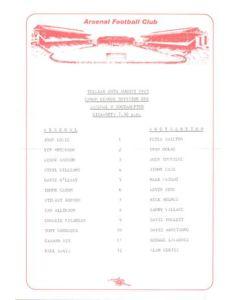 Arsenal v Southampton official teamsheet 20/08/1985 Canon League