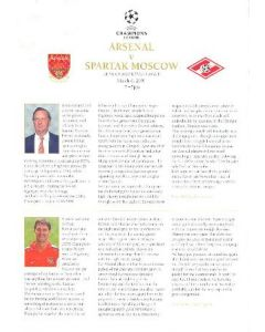 Arsenal v Spartak Moscow official press pack 06/03/2001