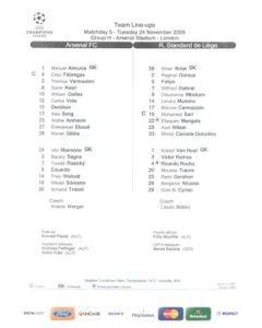 Arsenal v Standard Liege teamsheet 24/11/2009 Champions League