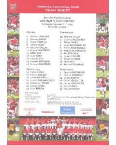 Arsenal v Sunderland official colour printed teamsheet 21/02/2009