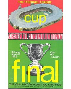 1969 League Cup Final Programme Arsenal v Swindon Town official programme 15/03/1969