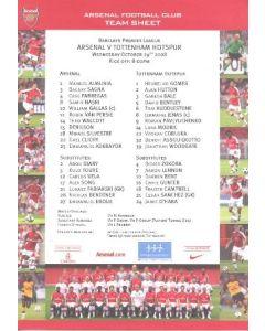 Arsenal v Tottenham Hotspur colour printed teamsheet 29/10/2008