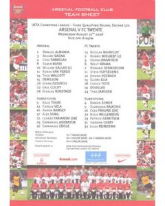 Arsenal v Twente official colour teamsheet 27/08/2008 Champions League