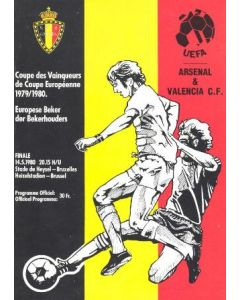 1980 European Cup Winners Cup Final Official Programme Valencia v Arsenal official Programme 14/05/1980
