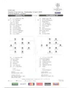 Arsenal v Villarreal line-ups 15/04/2009
