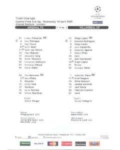 Arsenal v Villarreal official teamsheet 15/04/2009