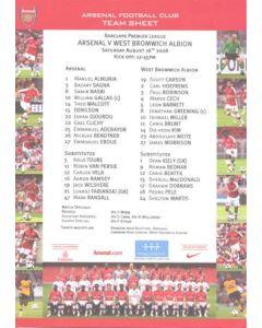 Arsenal v West Bromwich Albion official colour teamsheet 16/08/2008 Premier League