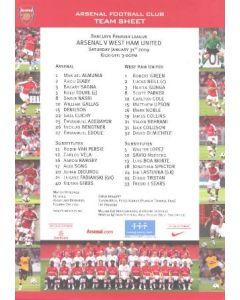 Arsenal v West Ham United official colour printed teamsheet 31/01/2009