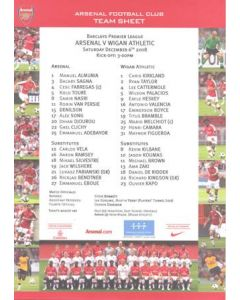 Arsenal v Wigan Athletic official colour teamsheet 06/12/2008 Premier League