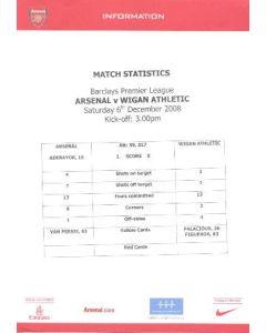 Arsenal v Wigan Athletic colour printed match statistics 06/12/2008 Premier League