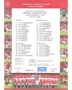Arsenal v Wigan Athletic colour printed teamsheet 11/11/2008