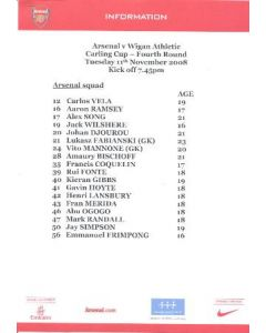 Arsenal v Wigan Athletic Arsenal produced colour printed press pack with biographies of players 11/11/2008
