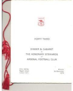 Arsenal Dinner & Cabaret Menu in Memoriam Fred Kichenside 03/12/1979