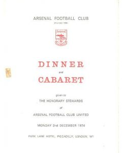 Arsenal - Dinner & Cabaret to The Honorary Stewards of Arsenal FC menu 02/12/1974