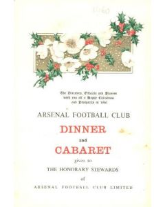 Arsenal - Dinner & Cabaret to The Honorary Stewards of Arsenal FC menu with ribbon 08/12/1960