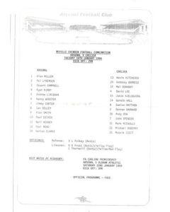 Arsenal v Chelsea Reserves official teamsheet 18/01/1994 Football Combination