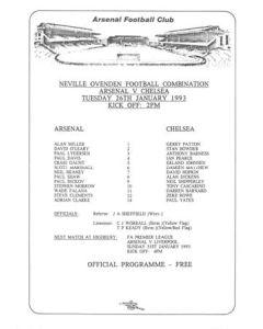Arsenal v Chelsea Reserves official colour teamsheet 26/01/1993 Football Combination