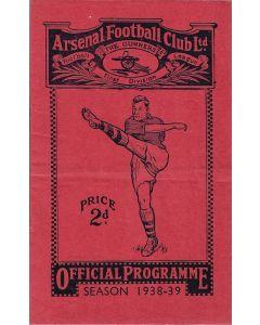 1938 Arsenal v Stoke City football programme