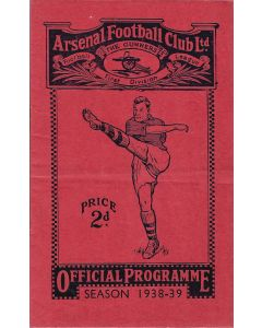1938 Arsenal v Leicester City Football Programme