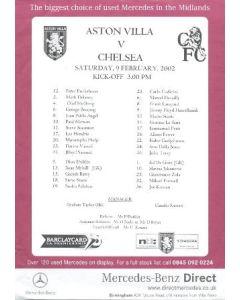 Aston Villa v Chelsea official colour printed teamsheet 09/02/2002