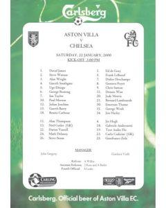 Aston Villa v Chelsea official colour teamsheet 22/01/2000