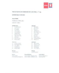 Aston Villa v Chelsea official colour teamsheet 29/05/2010 FA Youth Cup