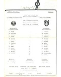 Aston Villa v Sunderland official teamsheet 10/08/1985 Pre-Season Friendly Match