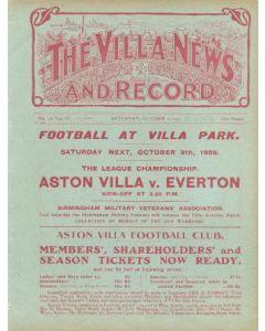 Aston Villa Reserves v Stoke official programme 02/10/1909