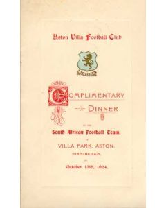 1924 Menu Aston Villa Dinner in Honour of the South Africans