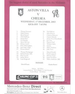 Aston Villa v Chelsea official colour teamsheet 17/12/2003 Carling Cup