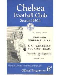 1950 England World Cup XI v F.A. Canadian Touring Team At Chelsea official programme 20/09/1950